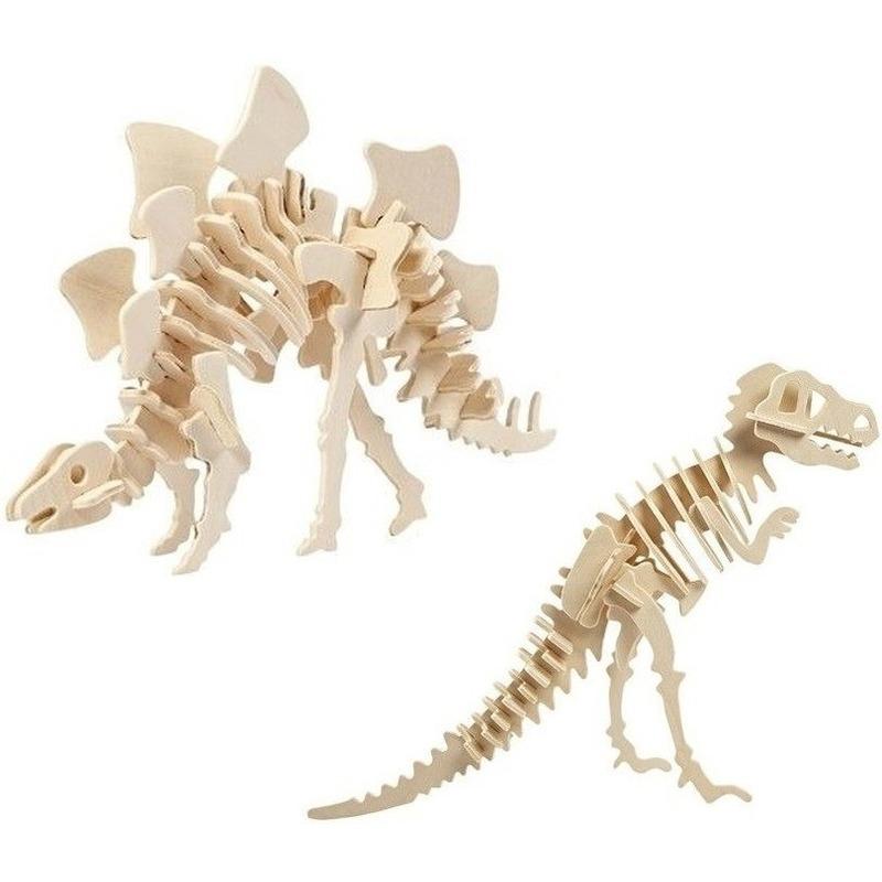 2x Houten bouwpakketten Stegosaurus en Tyrannosaurus dinosaurus