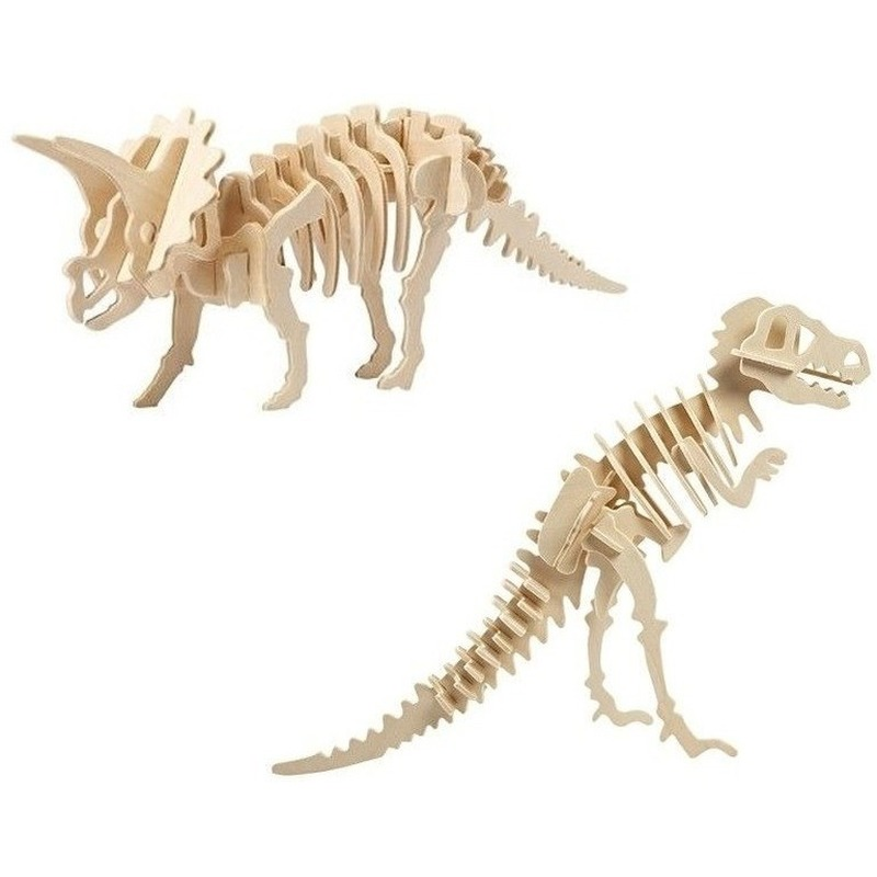 2x Houten bouwpakketten Triceratops en Tyrannosaurus dinosaurus
