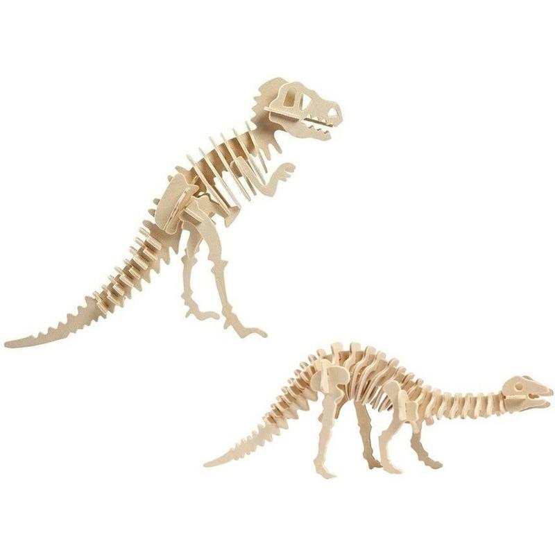 2x Houten bouwpakketten Tyrannosaurus en Apatosaurus dinosaurus