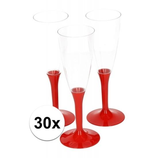 30x Plastic wijnglazen met rode voet
