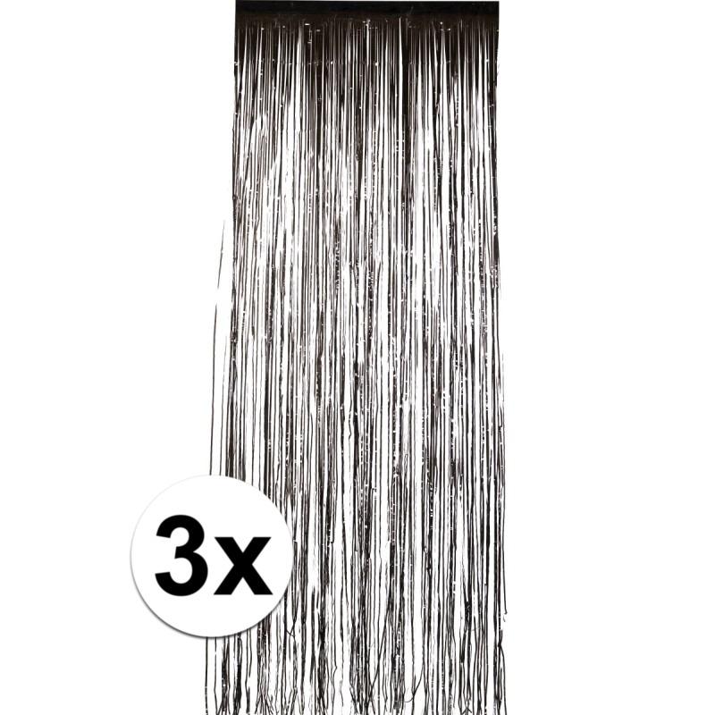 3x Zwart versiering deurgordijn