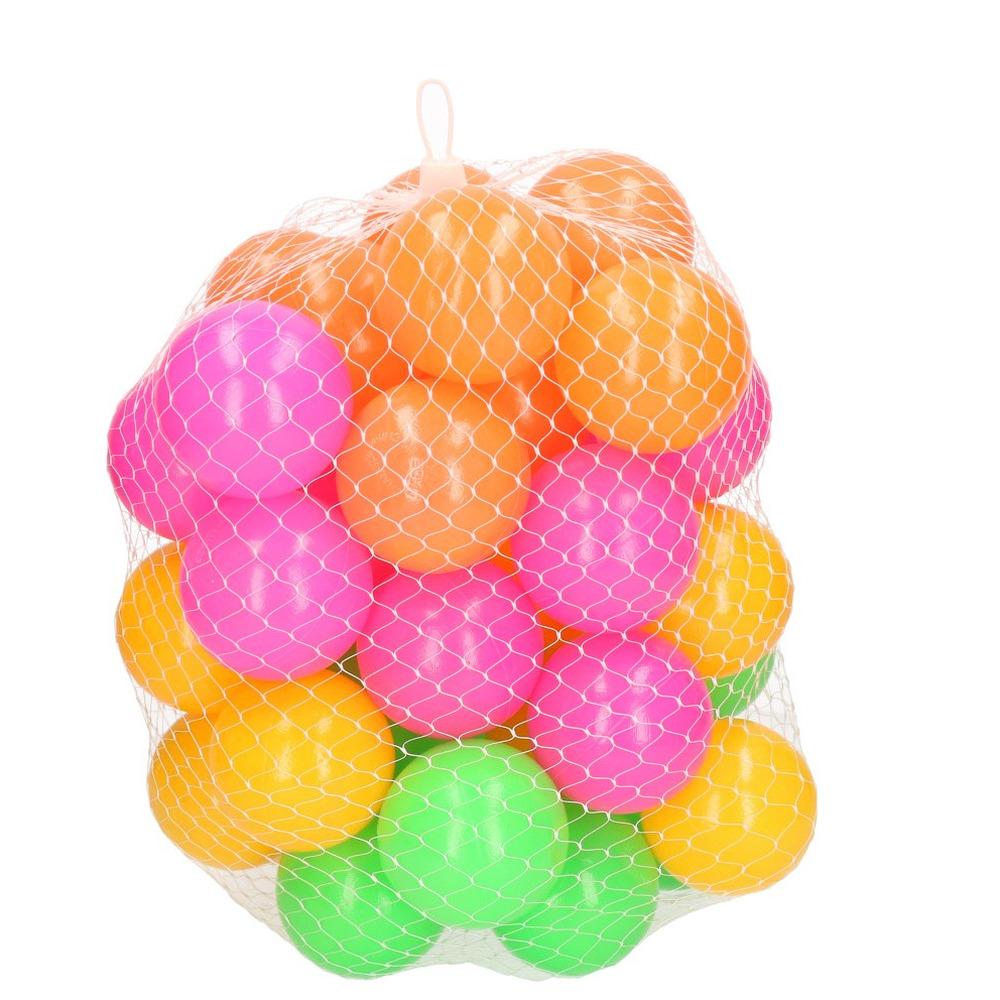 40x Ballenbak ballen neon kleuren 6 cm speelgoed