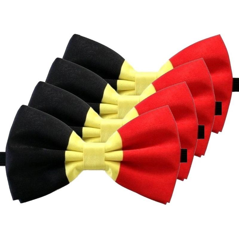 4x Belgie verkleed vlinderstrik 12 cm voor dames/heren