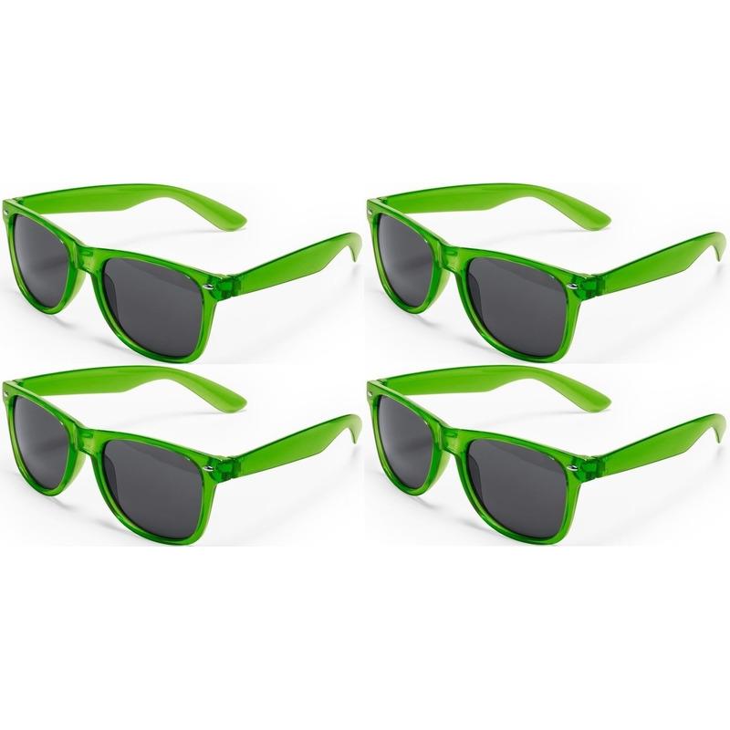 4x Groene retro model zonnebril voor volwassenen