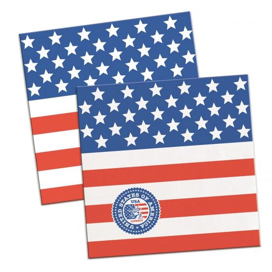 60x Amerikaanse vlag/USA themafeest servetten 25 x 25 cm