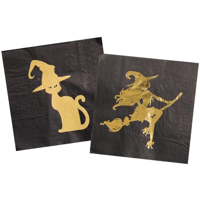 60x Heksen/zwarte kat thema servetten 33 x 33 cm