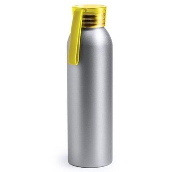 Aluminium drinkfles/waterfles met gele dop 650 ml