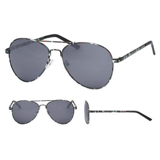 Aviator zonnebril legerprint met zwarte glazen voor volwassenen