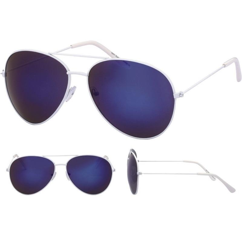 Aviator zonnebril wit met blauwe glazen voor volwassenen
