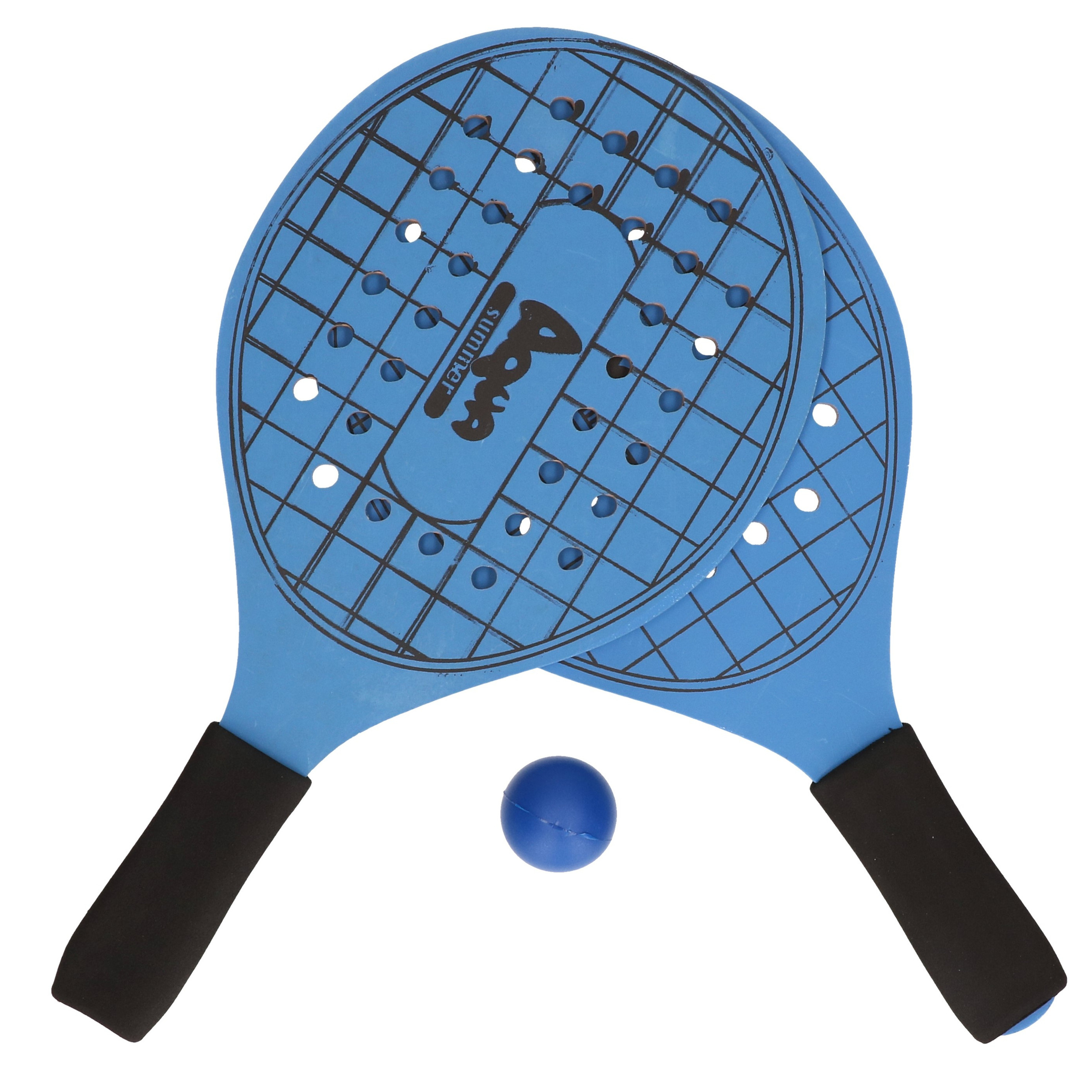 Blauwe beachball set met tennisracketprint buitenspeelgoed