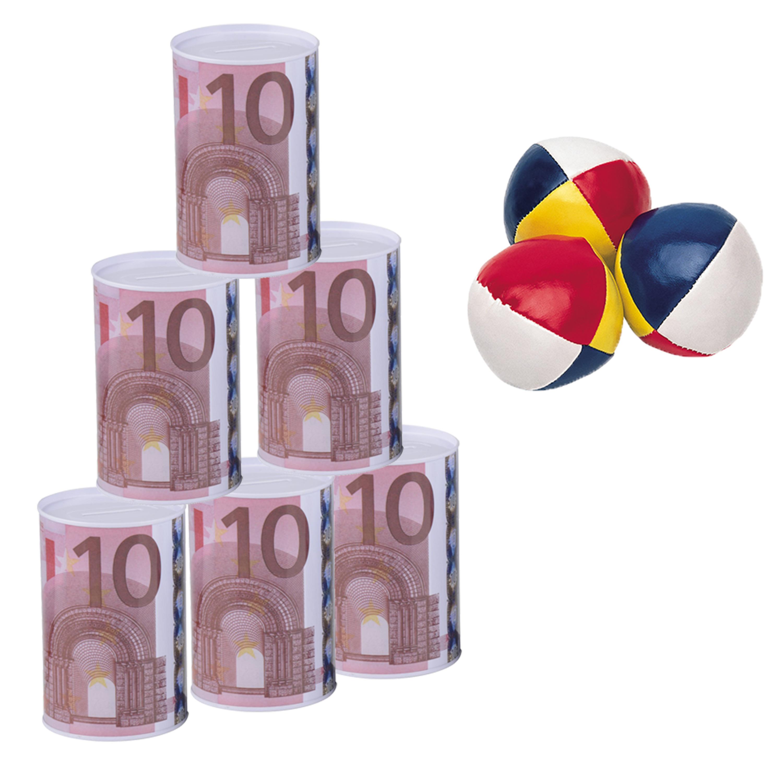 Blikken gooien 10 euro geld biljet blik 13 cm speelset 9-delig speelgoed