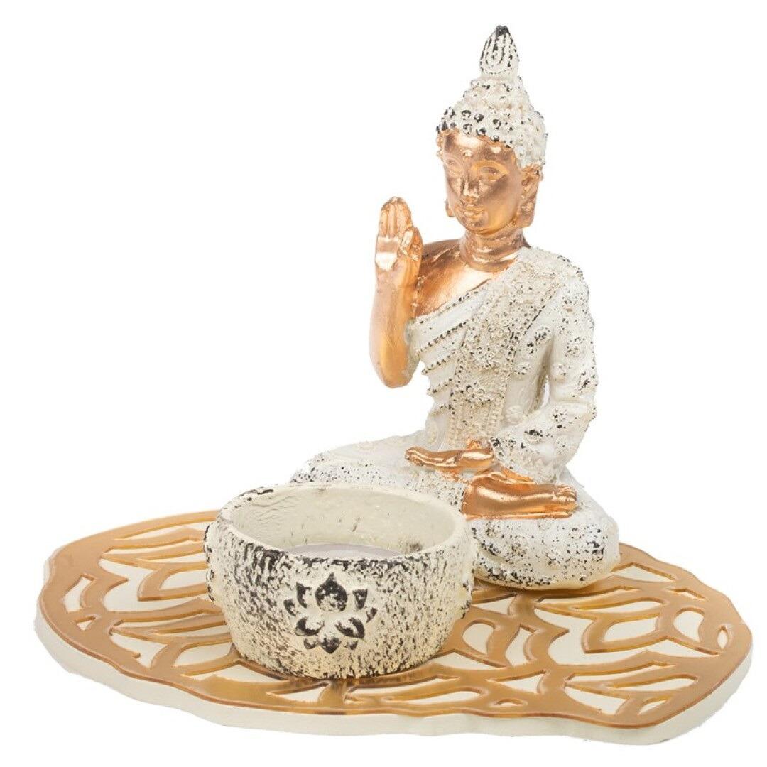 Boeddha beeld met waxinelichthouder voor binnen 15 cm