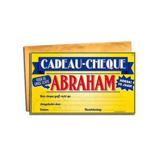 Cadeau cheque voor de Abraham 20 x 34 cm Cadeau /versiering-algemeen/kado-cheques