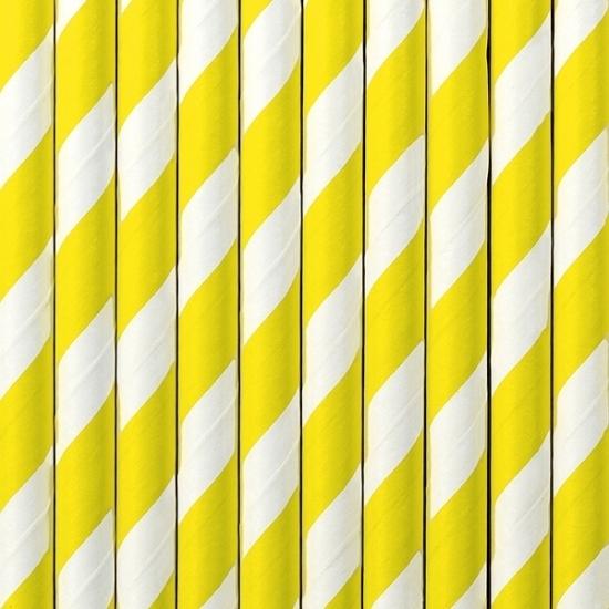 Gestreepte rietjes van papier geel/wit 10 stuks