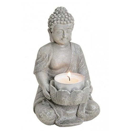 Grijs boeddha beeldje met waxine-theelicht houder 14 cm