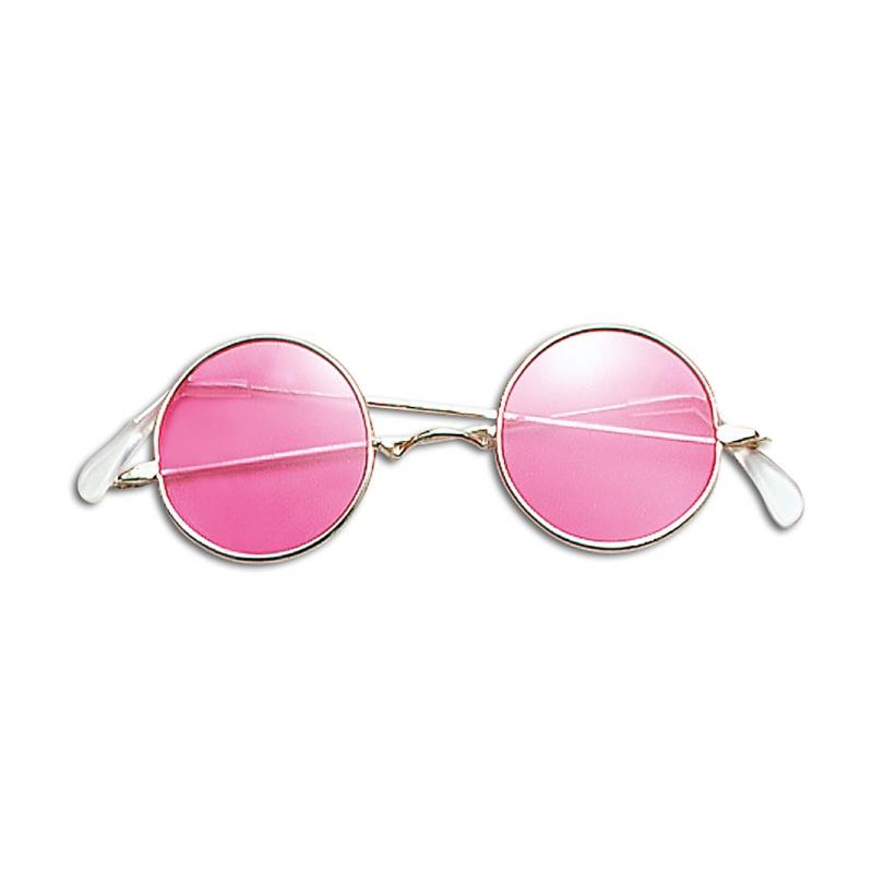 Hippie verkleed bril roze
