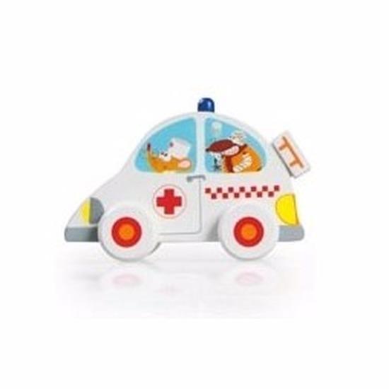 Houten speelgoed witte ambulance 10 cm