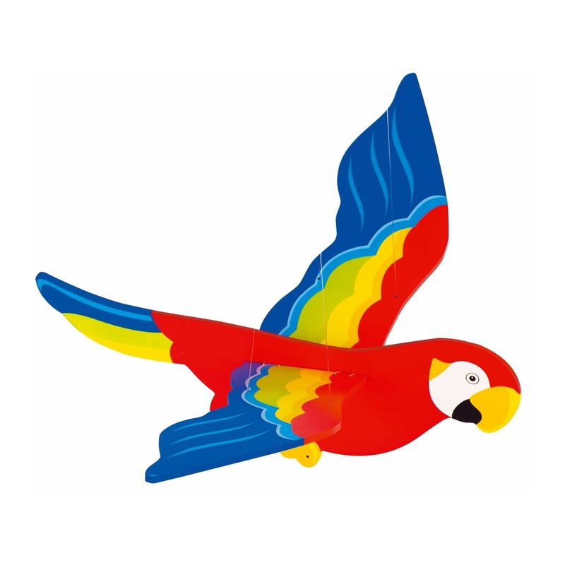 Houten zweeffiguur papegaai 50 cm