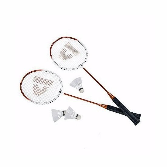 Oranje badmintonrackets met shuttels