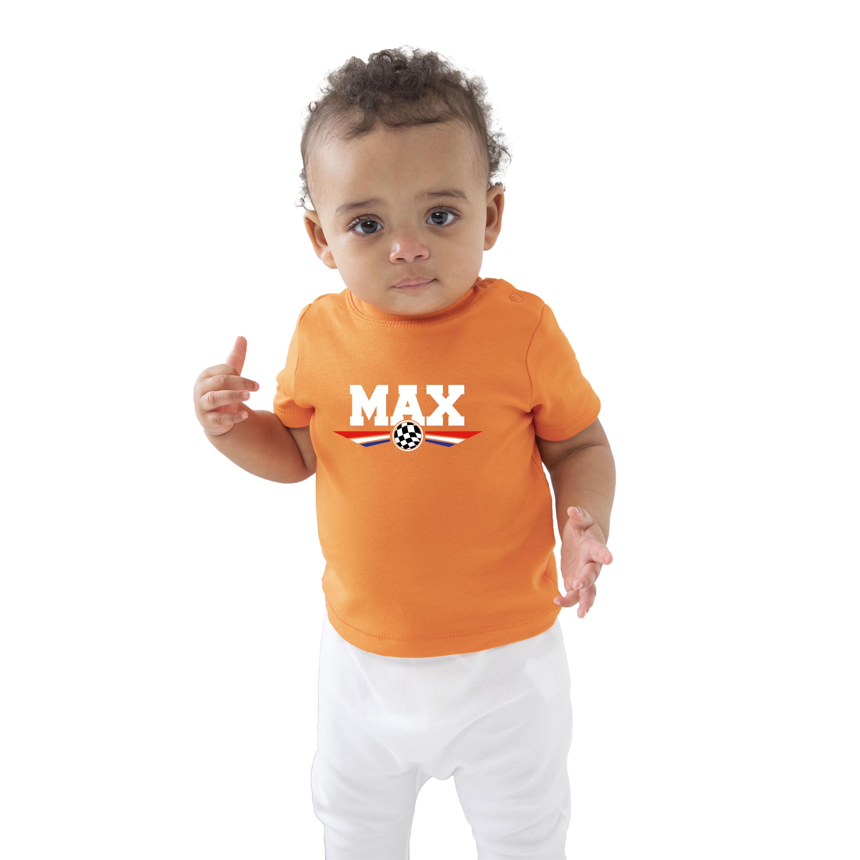 Oranje t-shirt Max coureur supporter-race supporter voor baby-peuter
