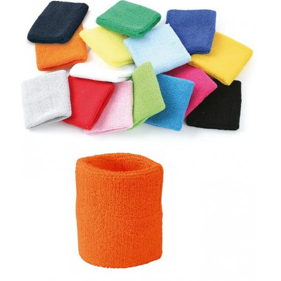 Oranje zweetbandje voor pols