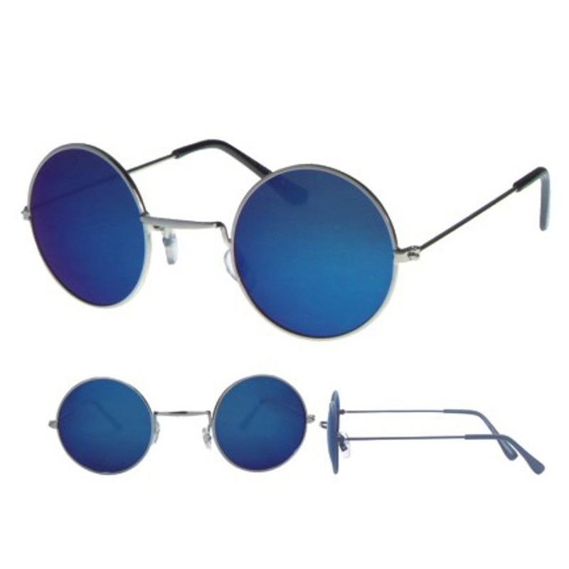 Retro zonnebril zilver met ronde blauwe glazen voor volwassenen
