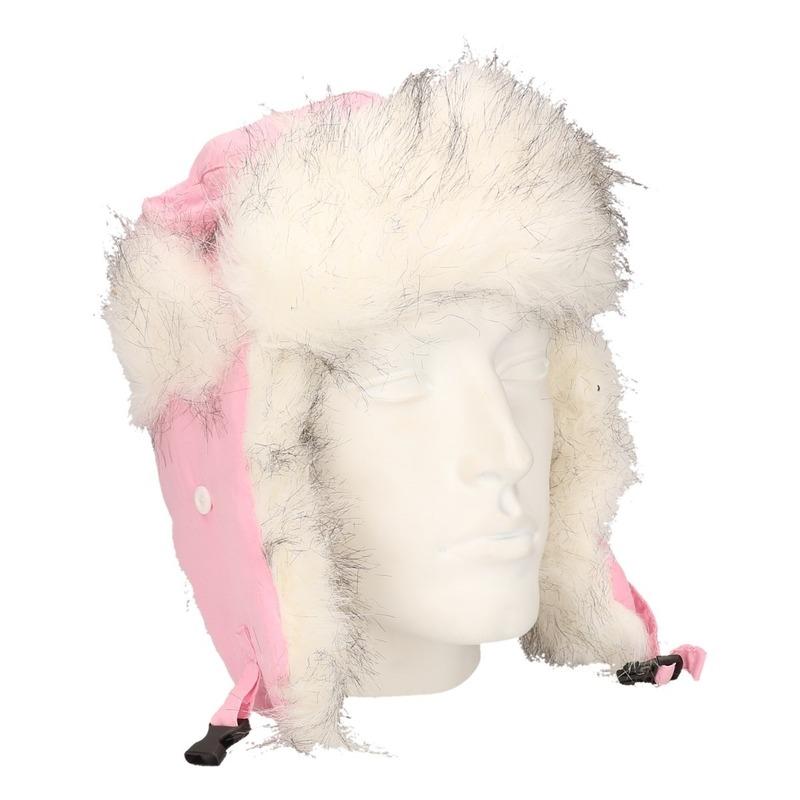 Roze bontmuts met oorflappen voor dames