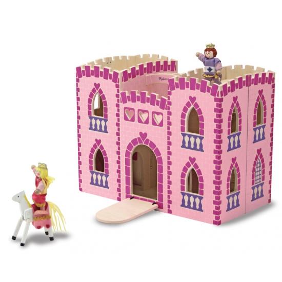 Roze houten speelgoed kasteel met accessoires