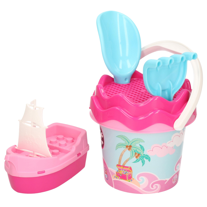 Roze piraten strandemmer/zandbak speelset voor kinderen