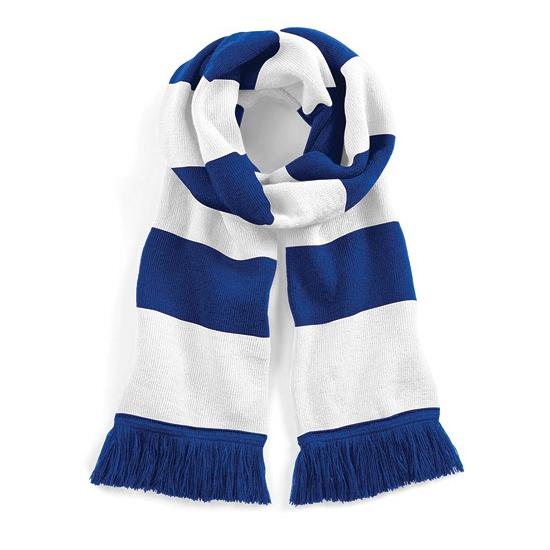 Sjaal met brede streep blauw/wit