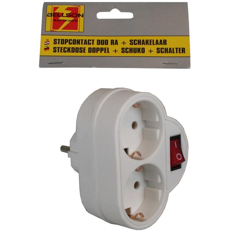 Stopcontact splitter dubbel met randaarde en schakelaar wit