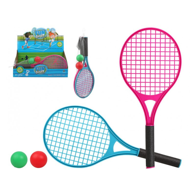 Tennis set/beachball set blauw/rood met 2 ballen voor kinderen