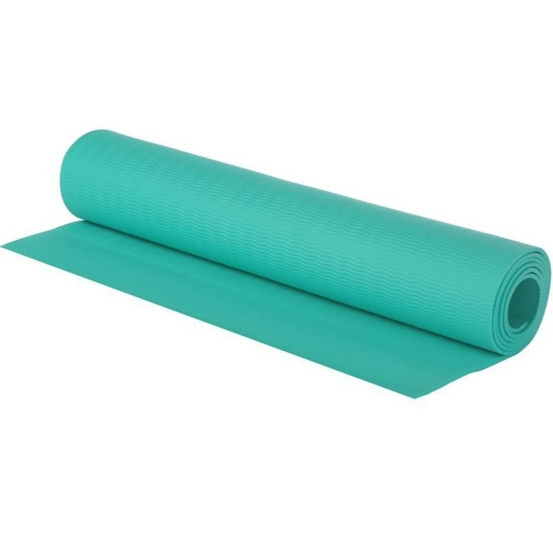 Turquoise blauwe yogamat/sportmat 180 x 60 cm