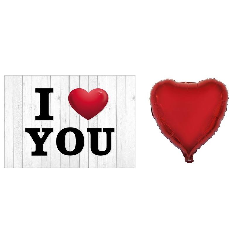 Valentijnskaart met folie ballon hart rood 52 cm