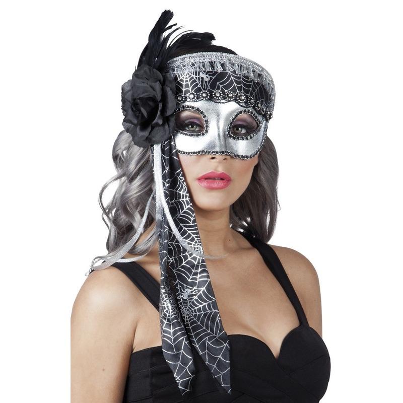 Venetiaans glitter oogmasker zwart/zilver
