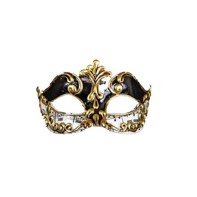 Venetiaans masker met muzieknoten zwart/wit