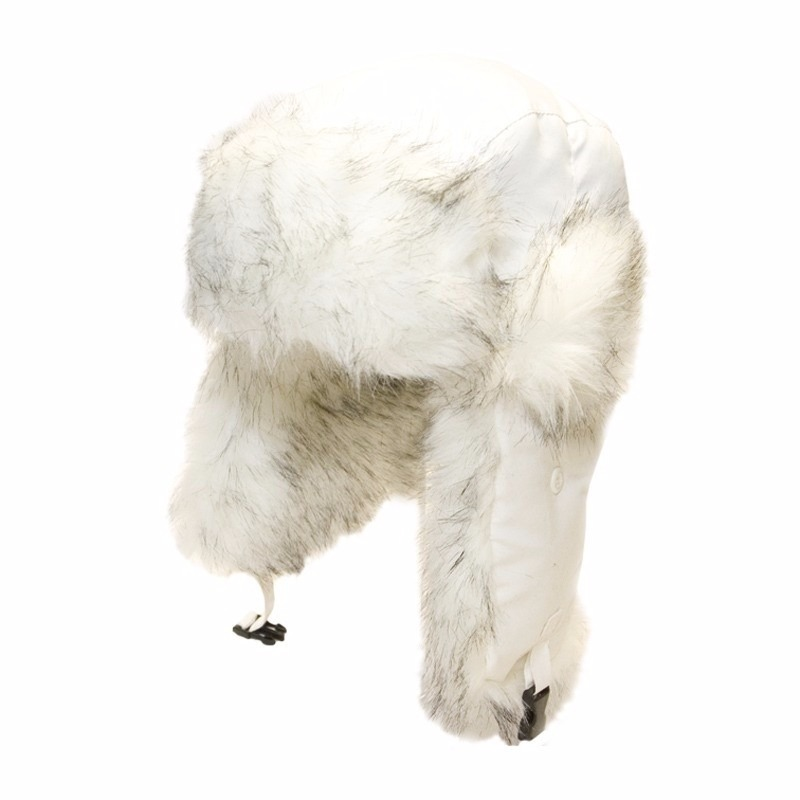 Witte bontmuts met oorflappen voor dames