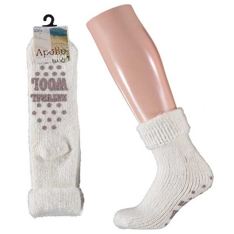 Wollen huis sokken anti-slip voor meisjes wit maat 31-34