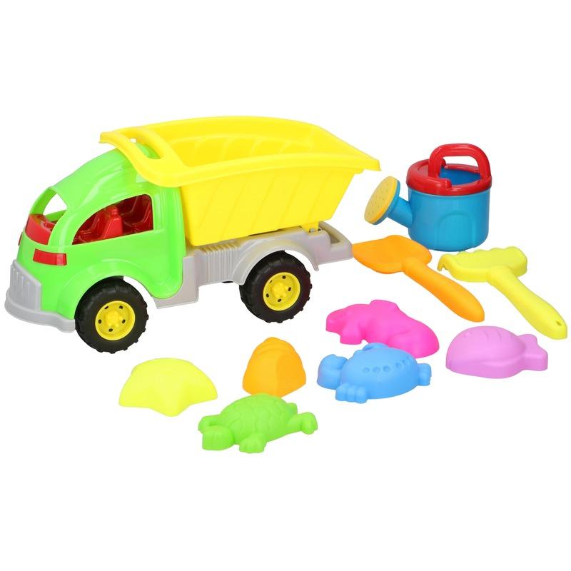 Zandbak speelgoed groene truck/kiepwagen 10-delig 33 cm